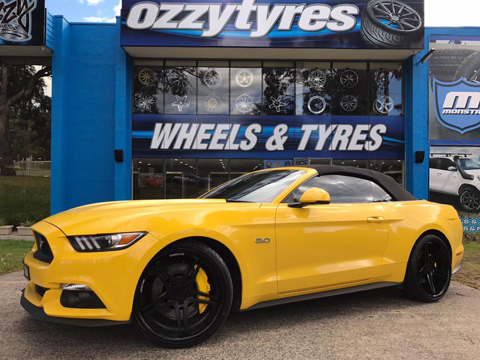 convetable-yellow-mustang-fitted-with-22x9-and-22x10-5-vertini-monaco-matte-black-wheels