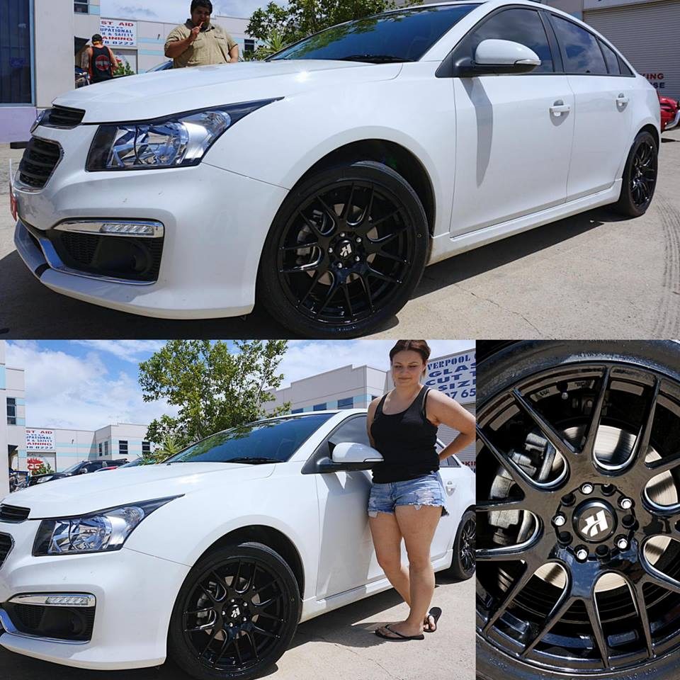 Holden cruze rims available from ozzy tyres australia white holden cruze with hussla hxr030 black vanachro Images