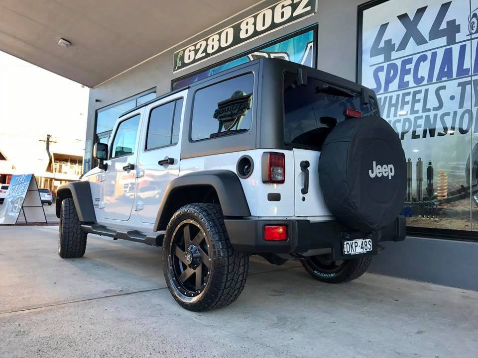 White Jeep Wrangler With Black Hussla Chopper Rims