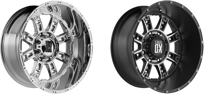 KMC XD Series Riot Wheels in Chrome and Machine Face