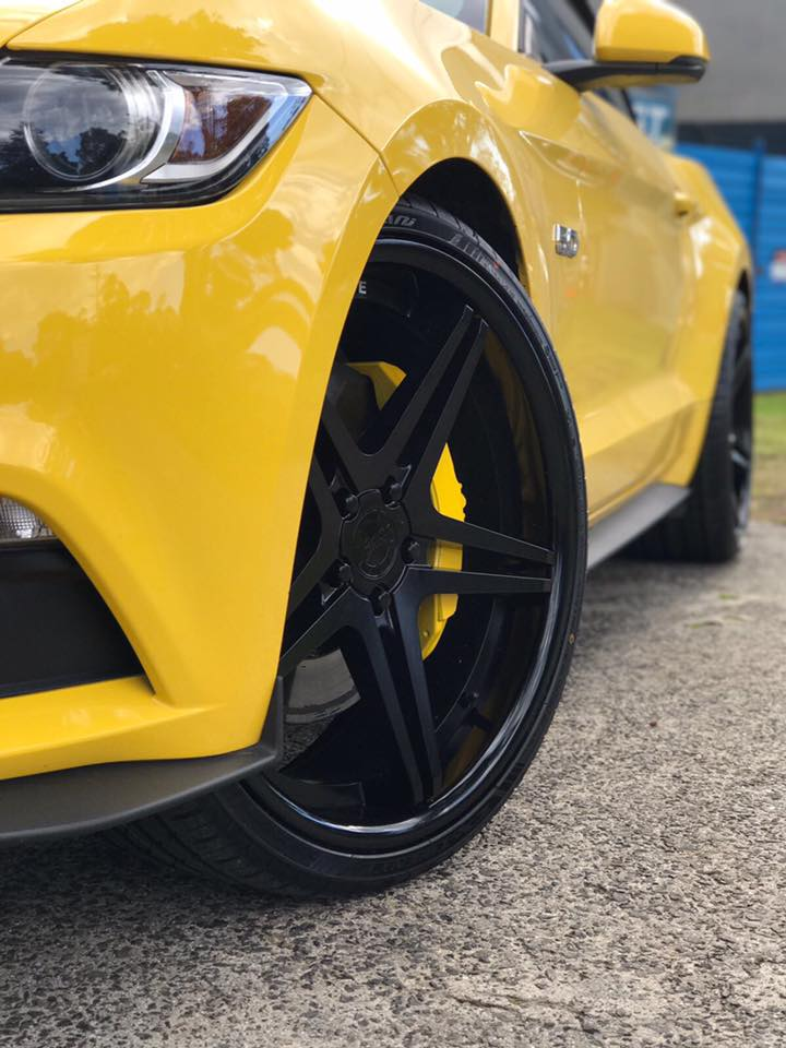 convetable-yellow-mustang-fitted-with-22x9-and-22x10-5-vertini-monaco-matte-black-wheels-2
