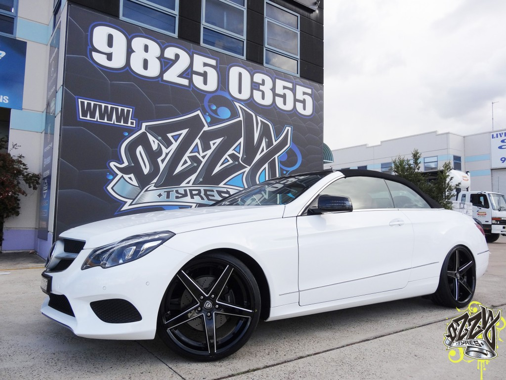 White Mercedes Black Rims
